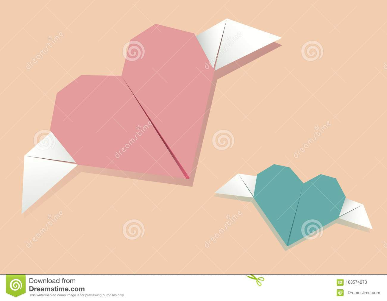 Paper Origami Heart Symbolic Vector Illustration Stock Vector
