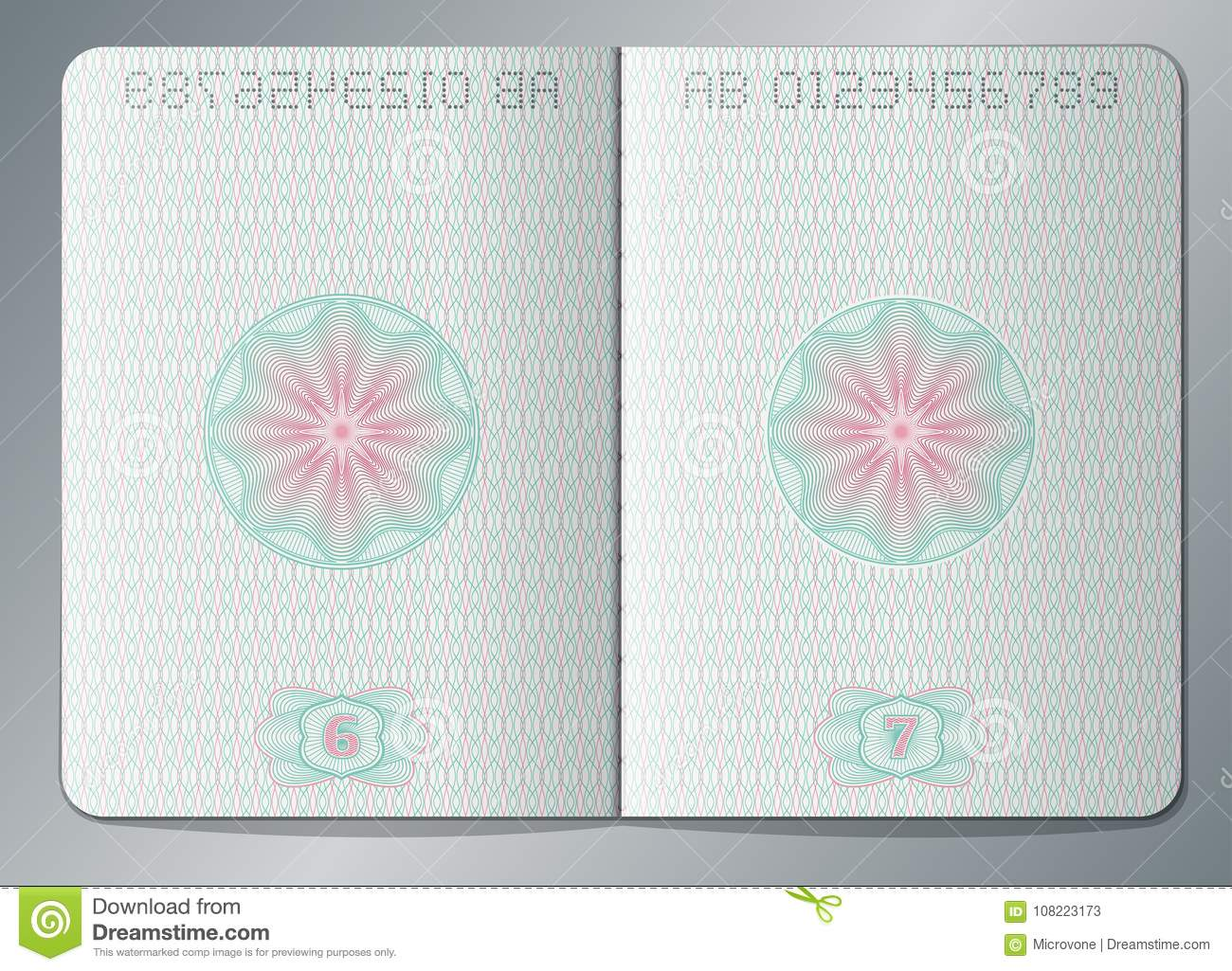 paper passport open blank pages vector template stock