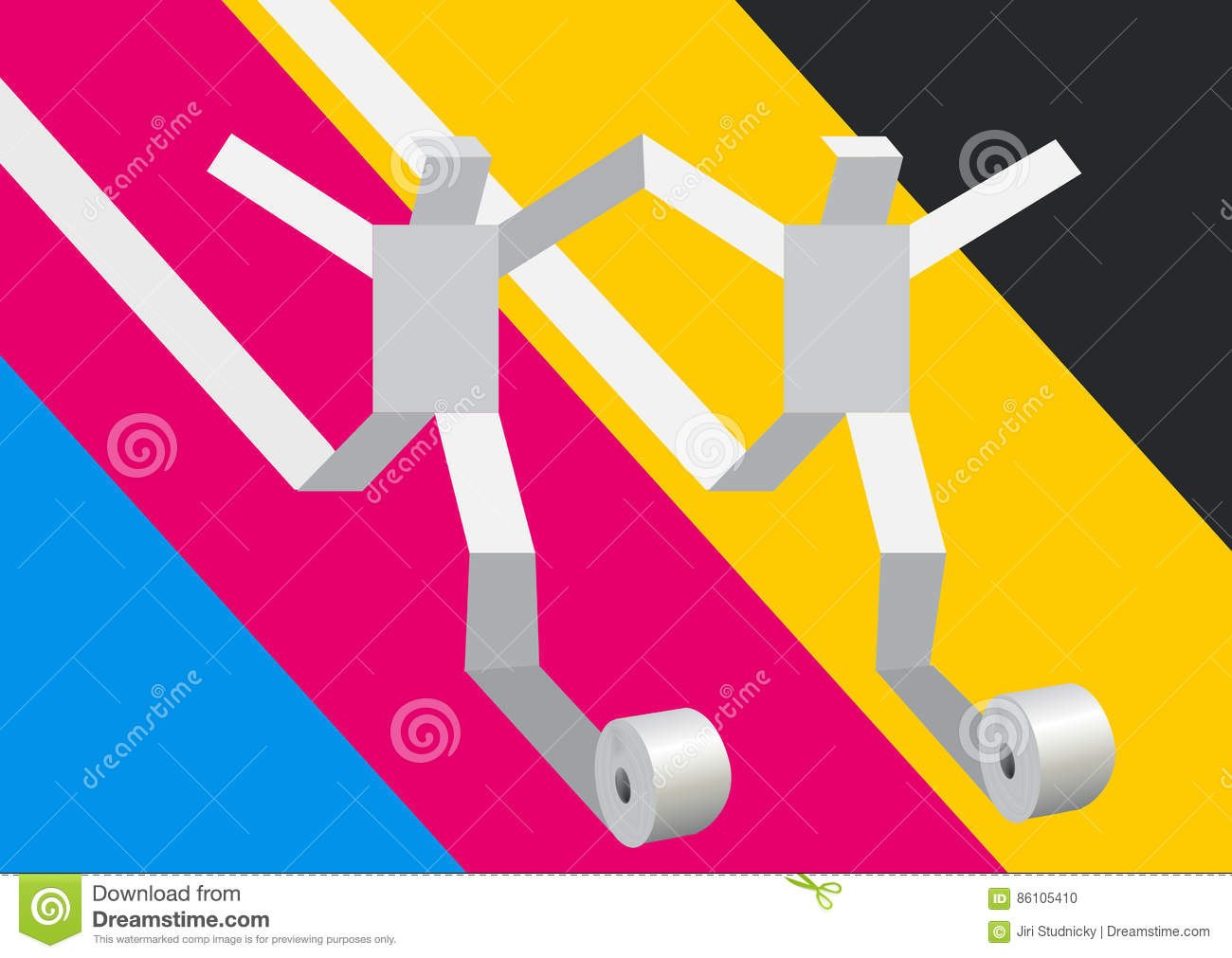 Paper People Running On Print Colors Background Vector