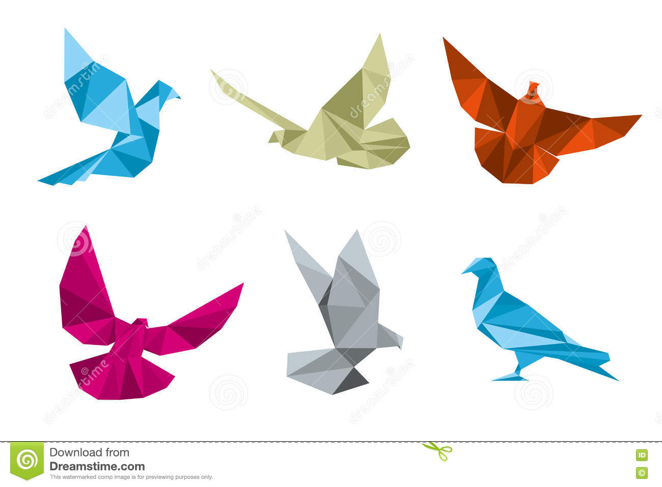 Paper Pigeons, Doves Origami Vector Set Stock Vector ... - photo#19