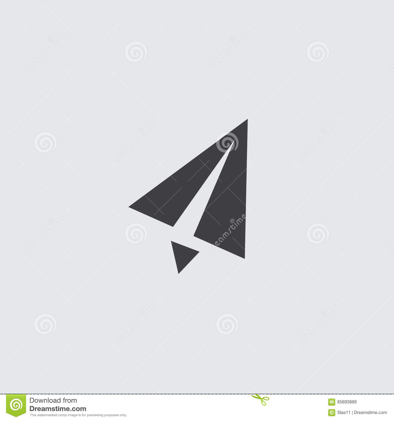 Paper plane icon in a flat design in black color. Vector illustration eps10