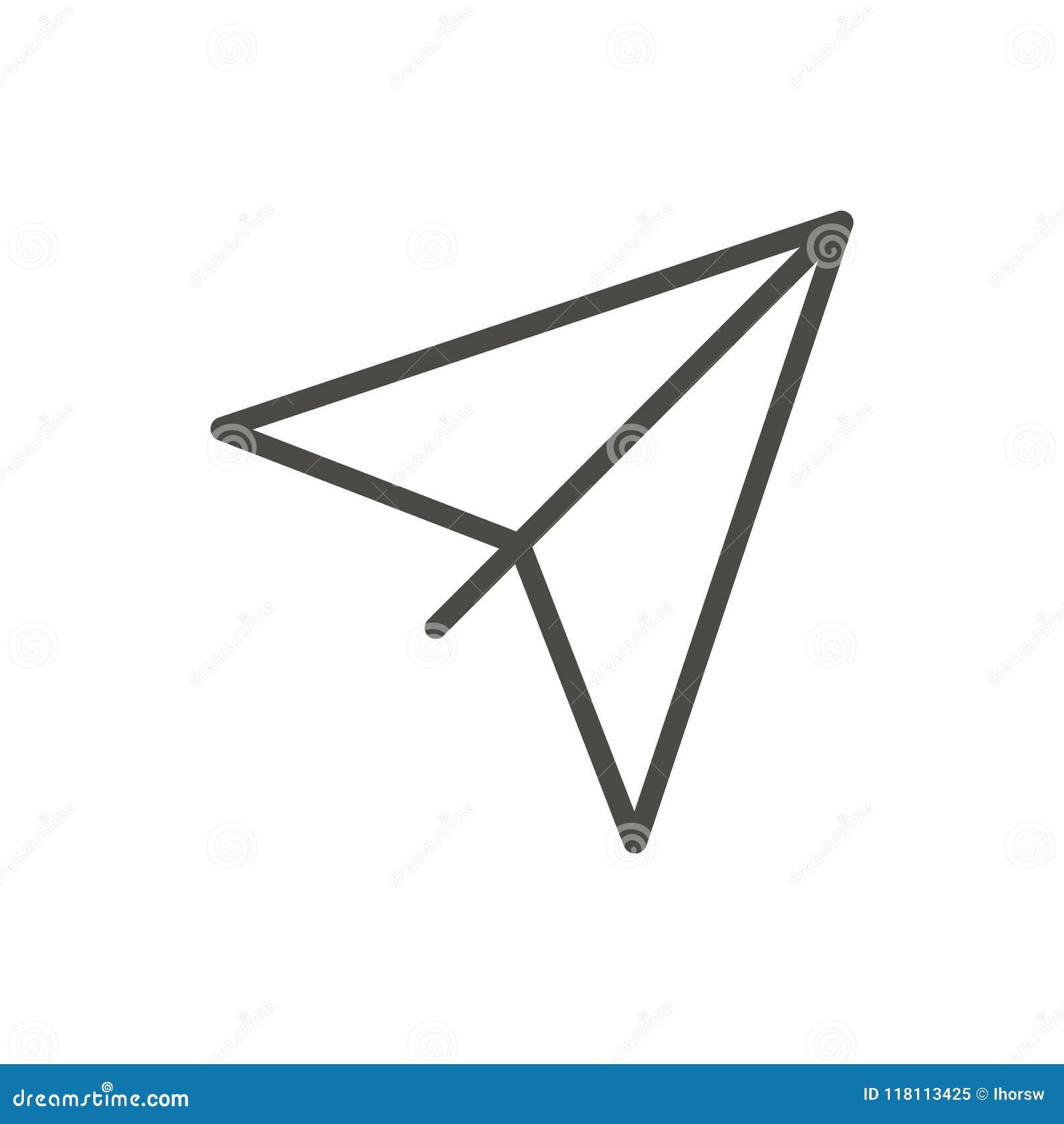 Paper Plane Icon Vector Outline Airplane Line Origami Plane Symbol