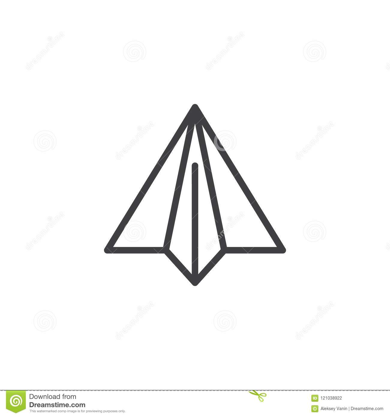 Paper Plane Outline Icon Stock Vector Illustration Of Airplane