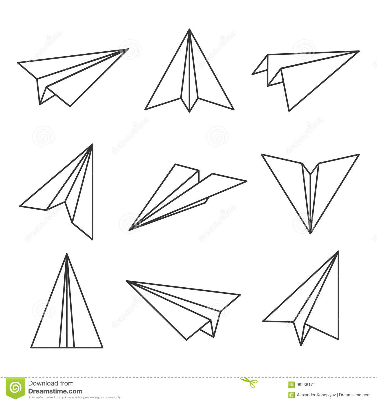 Paper Plane Outline Stock Vector Illustration Of Flight 99236171