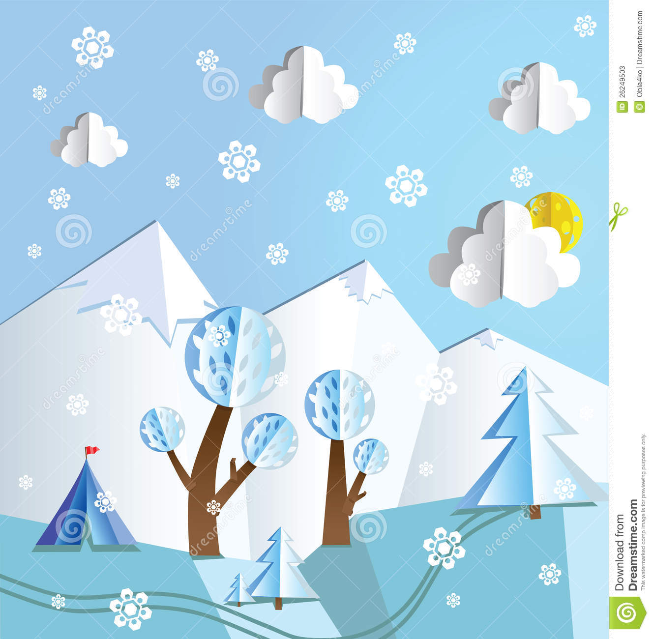 Paper pop up beautiful landscape - snow peaks, trees, snowflakes and ...
