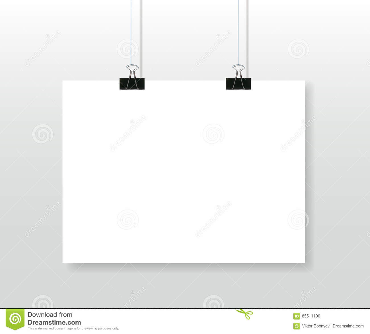 Poster hanging on clips vector template vector for Template for hanging pictures