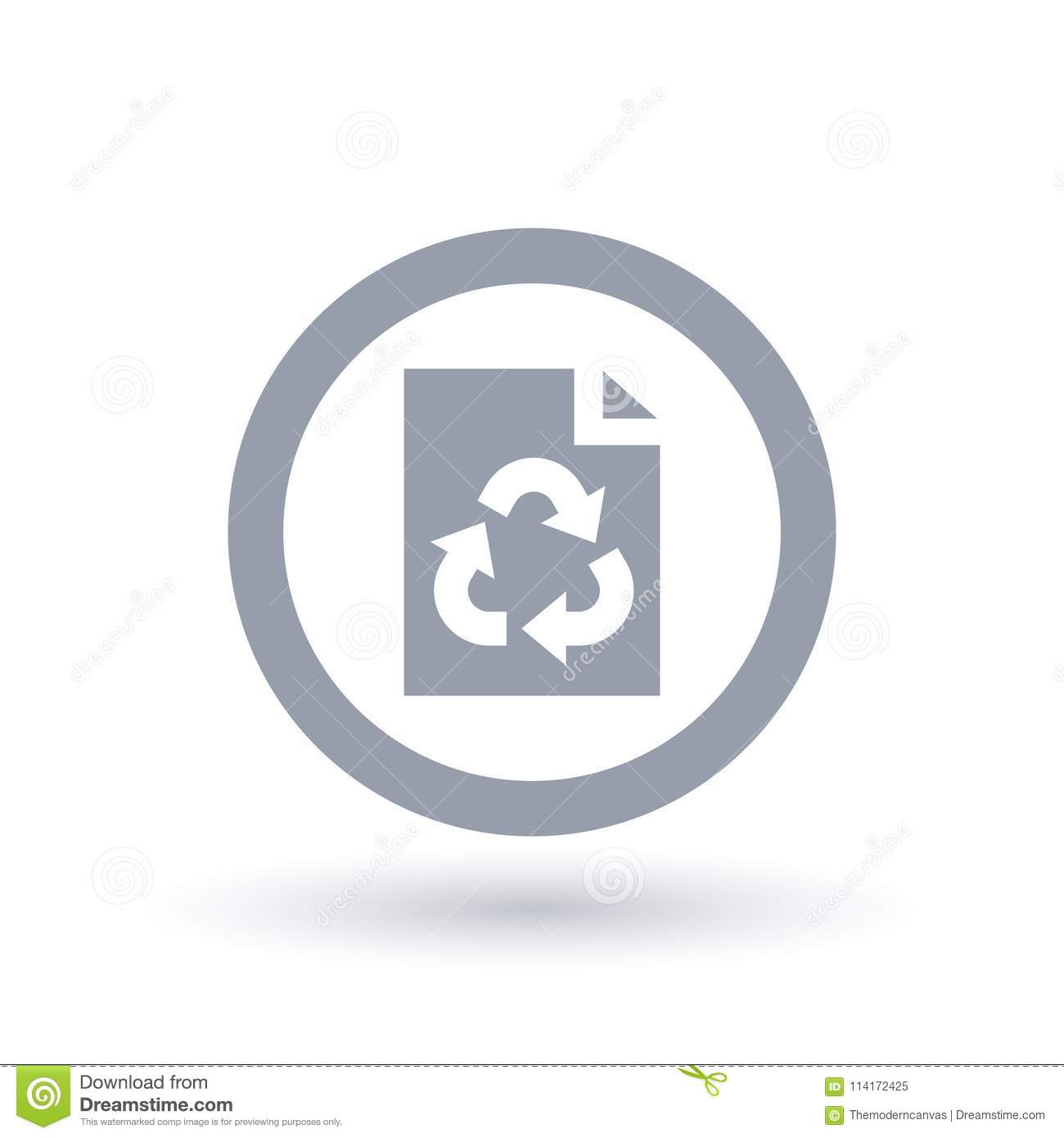 Paper page recycle icon. Office recycling symbol.