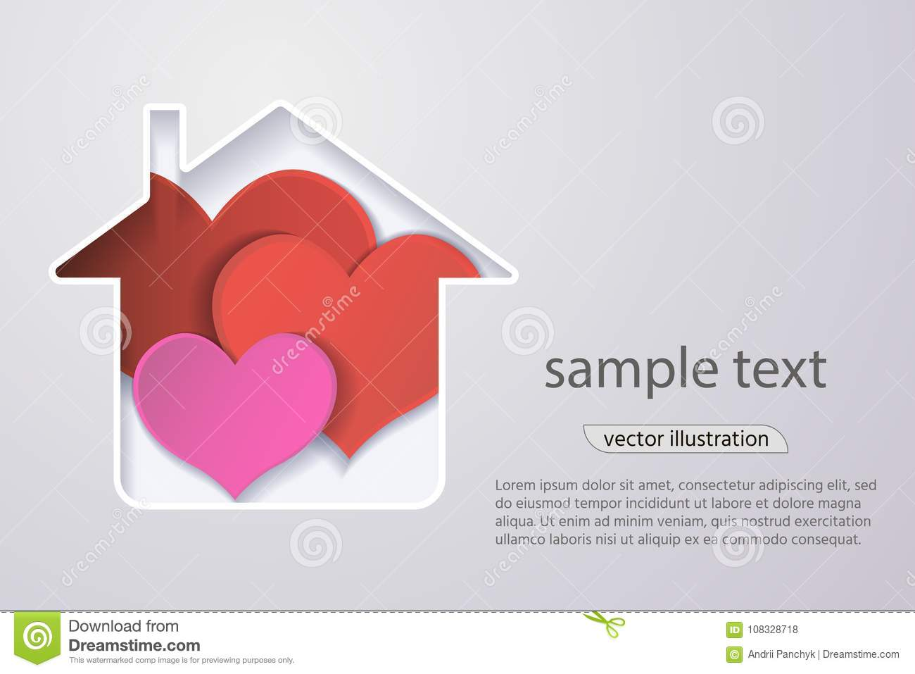 Paper Red Heart In The House The Concept Of A Happy Familyorigami