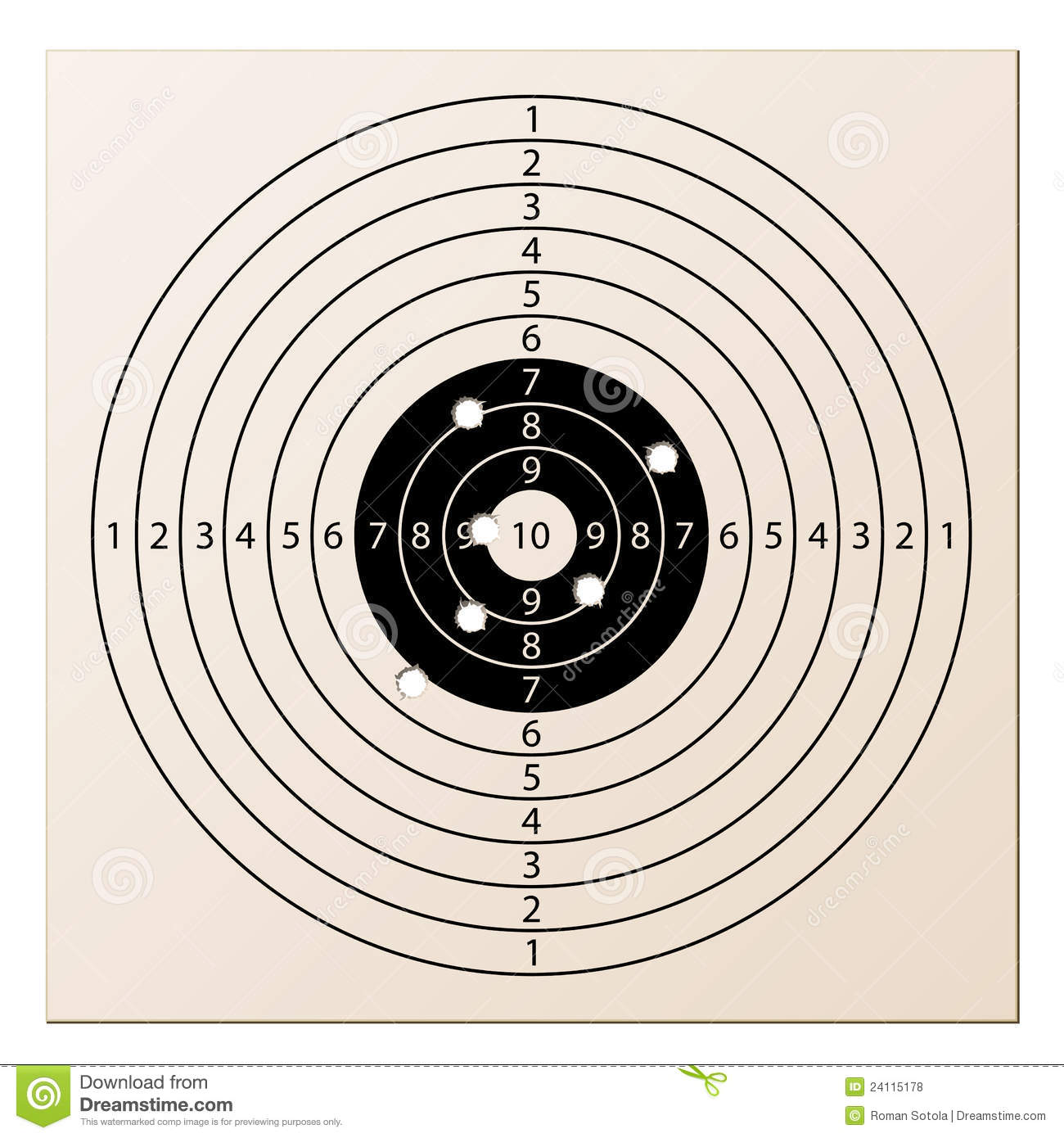 07b9228f1ea71 Paper Rifle Target With Bullet Holes Royalty Free Stock .