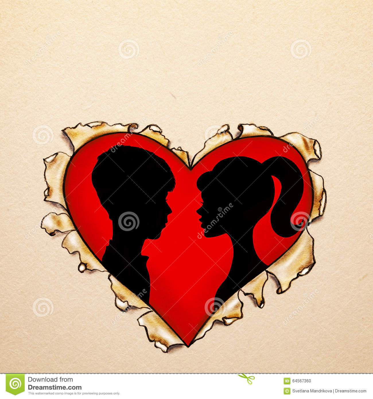 Paper ripped heart with silhouettes