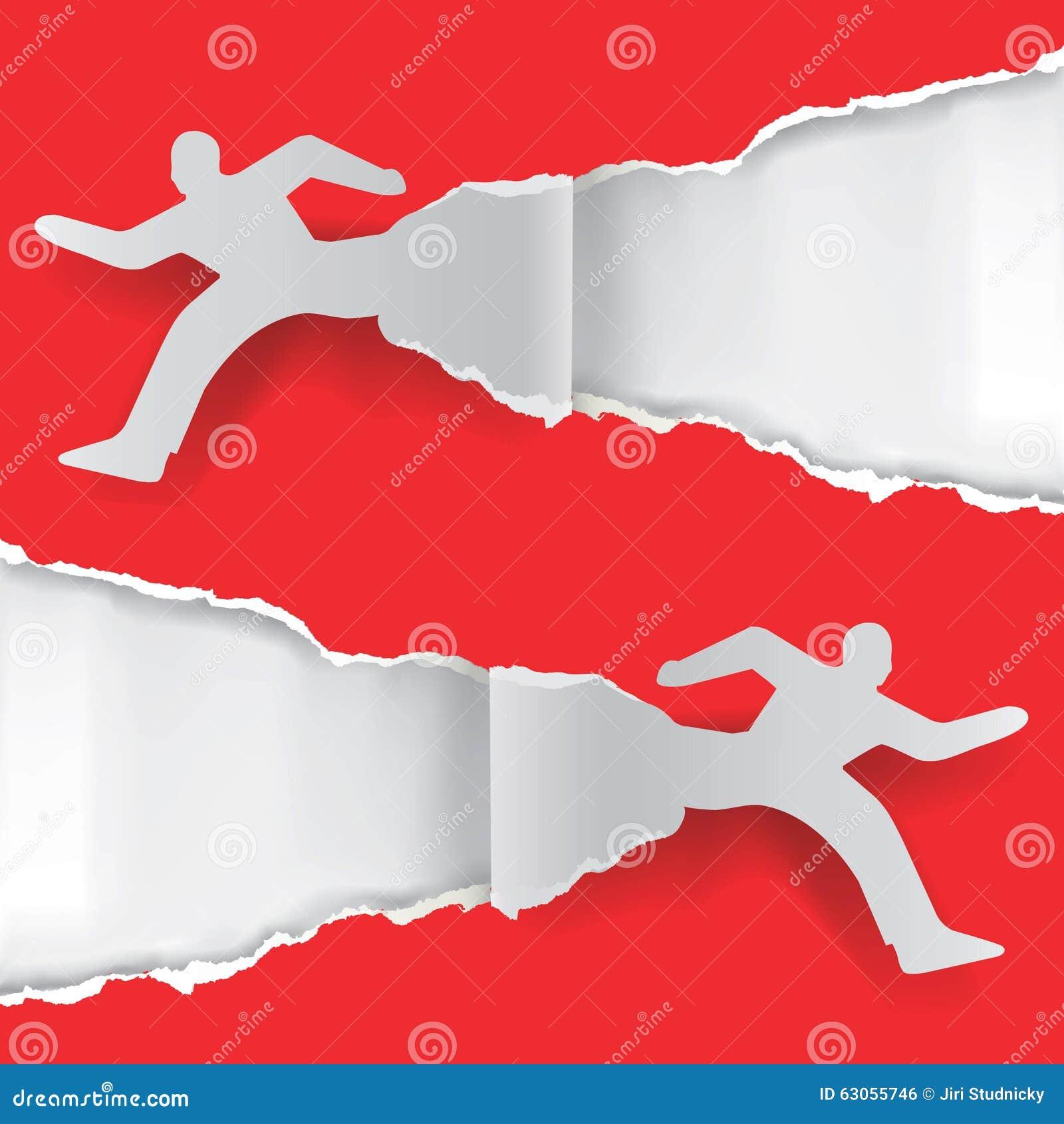 Paper Running Man Ripping Paper  Stock Vector - Illustration of