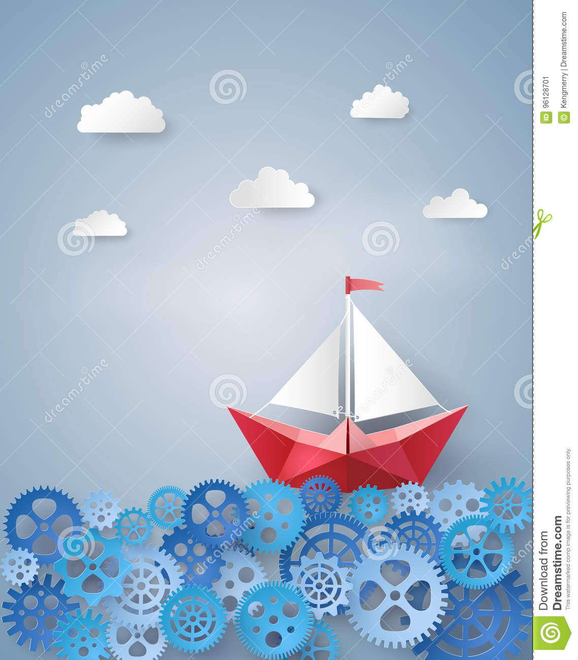 paper sailing boat float on the gears stock vector illustration of