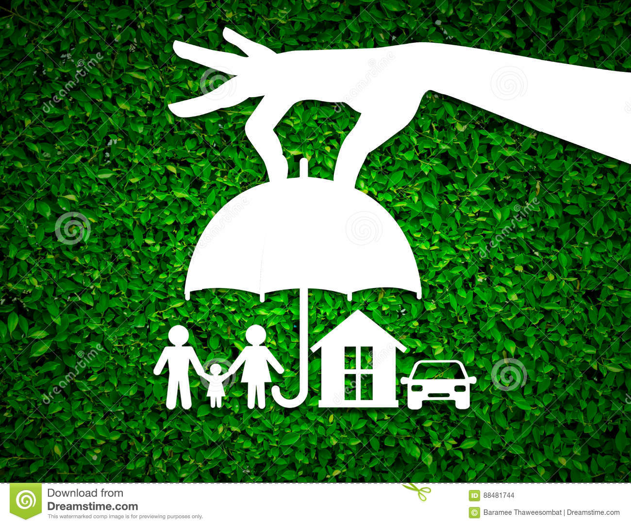 Paper Salesman Agent Hand Holding Family Protection On Green