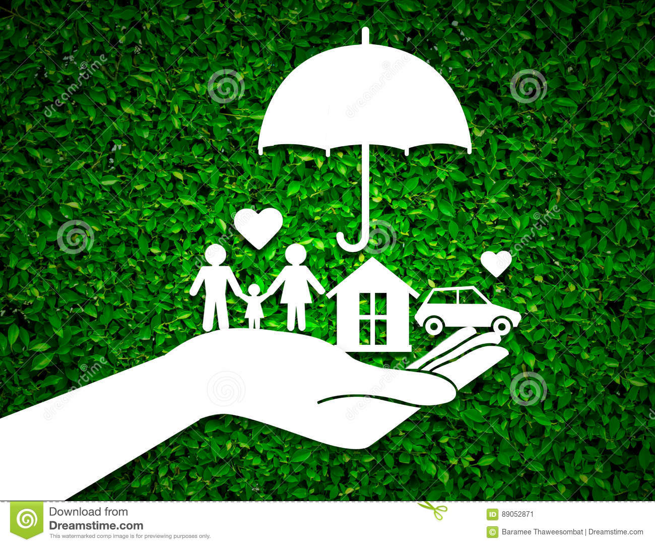 Paper Salesman Agent Hand Holding Family Protection On ...