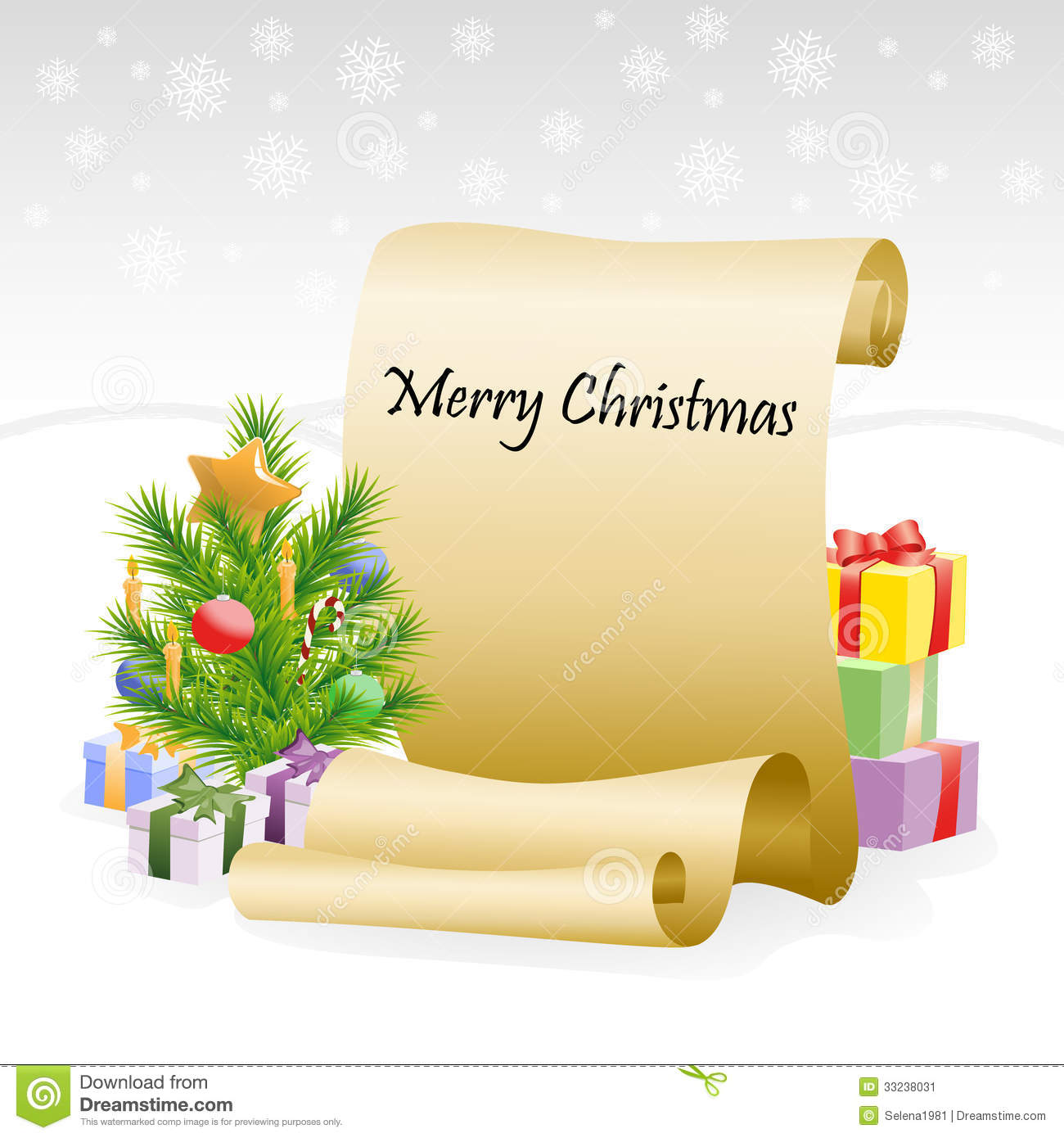 paper scroll for christmas congratulations stock image