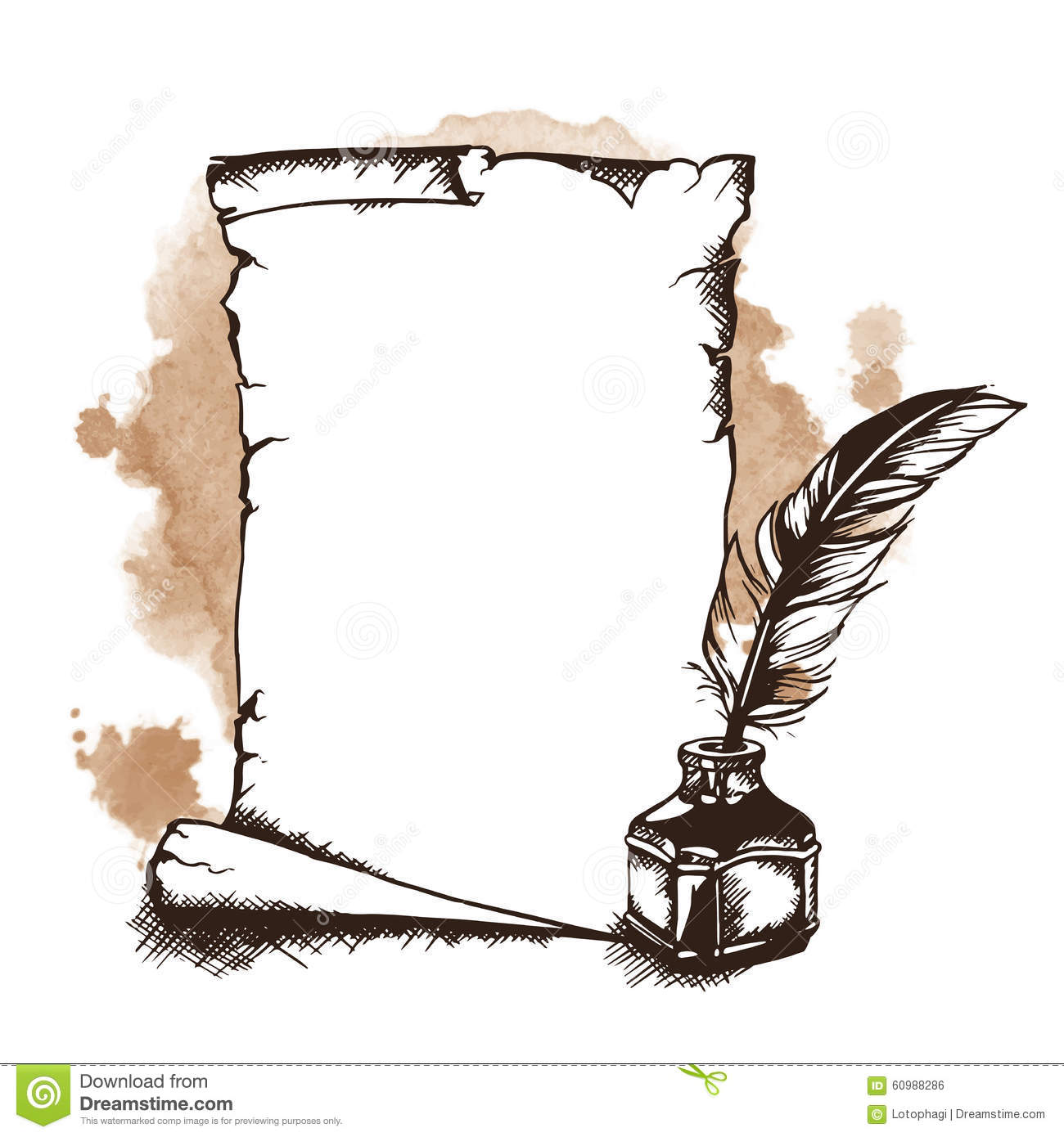paper scroll feather and inkwell vector illustration