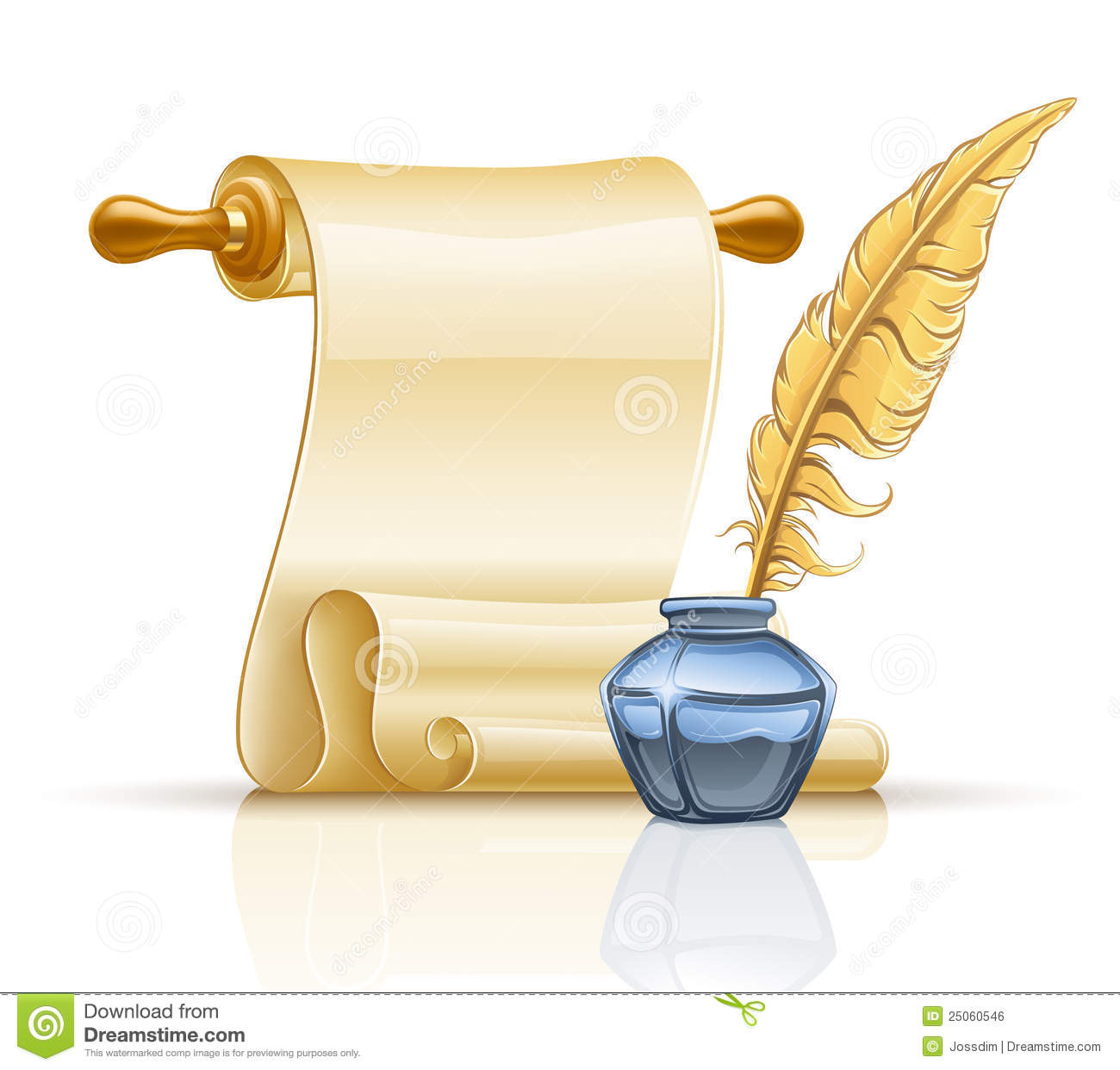 Vector illustration of paper scroll with feather pen and ink pot on ...