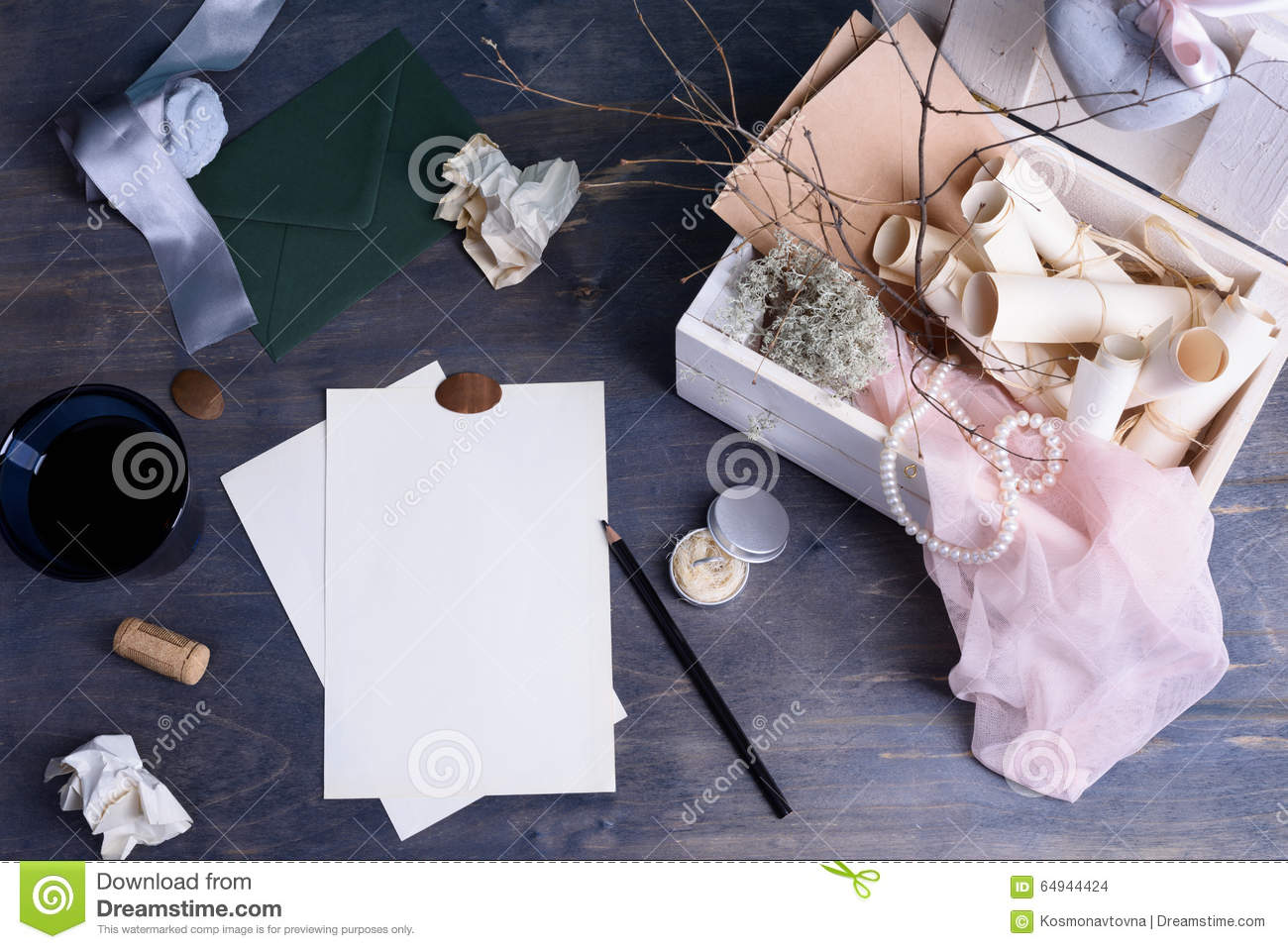 Paper Scrolls And Pearls In Retro Vintage Wooden Box Romantic Love