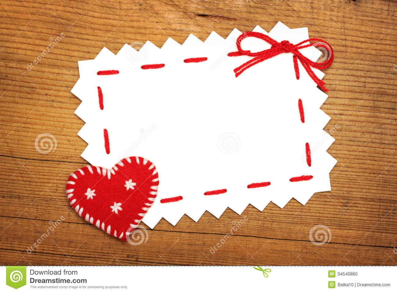 Paper sheet and christmas heart stock photo image
