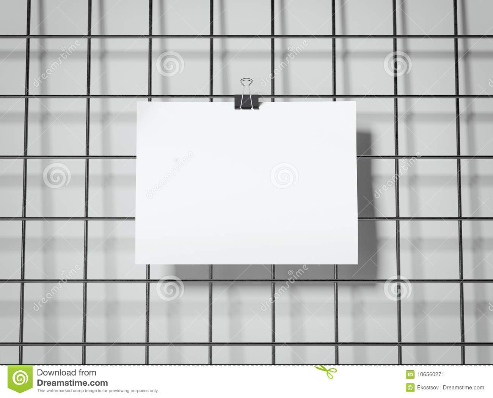 Paper Sheet Hanging. 3d Rendering Stock Illustration - Illustration ...