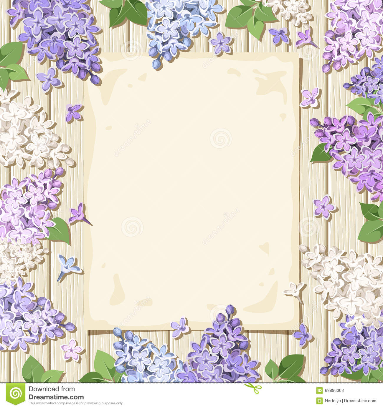 Paper Sheet And Lilac Flowers On A Wooden Background