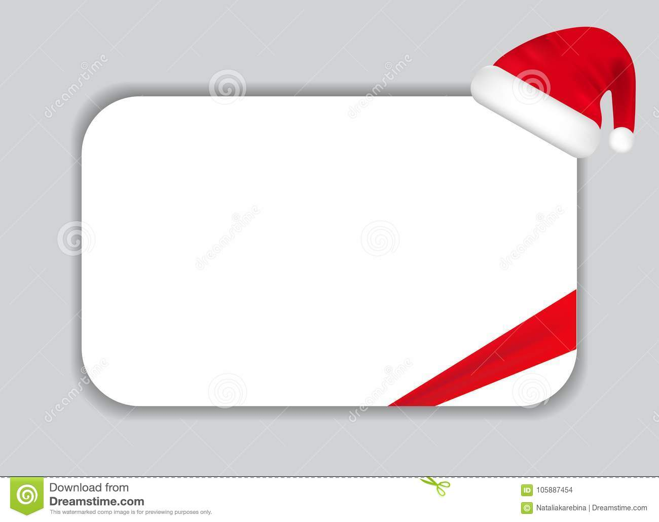 paper sheet with santa hat and ribbon it can be used for greeting