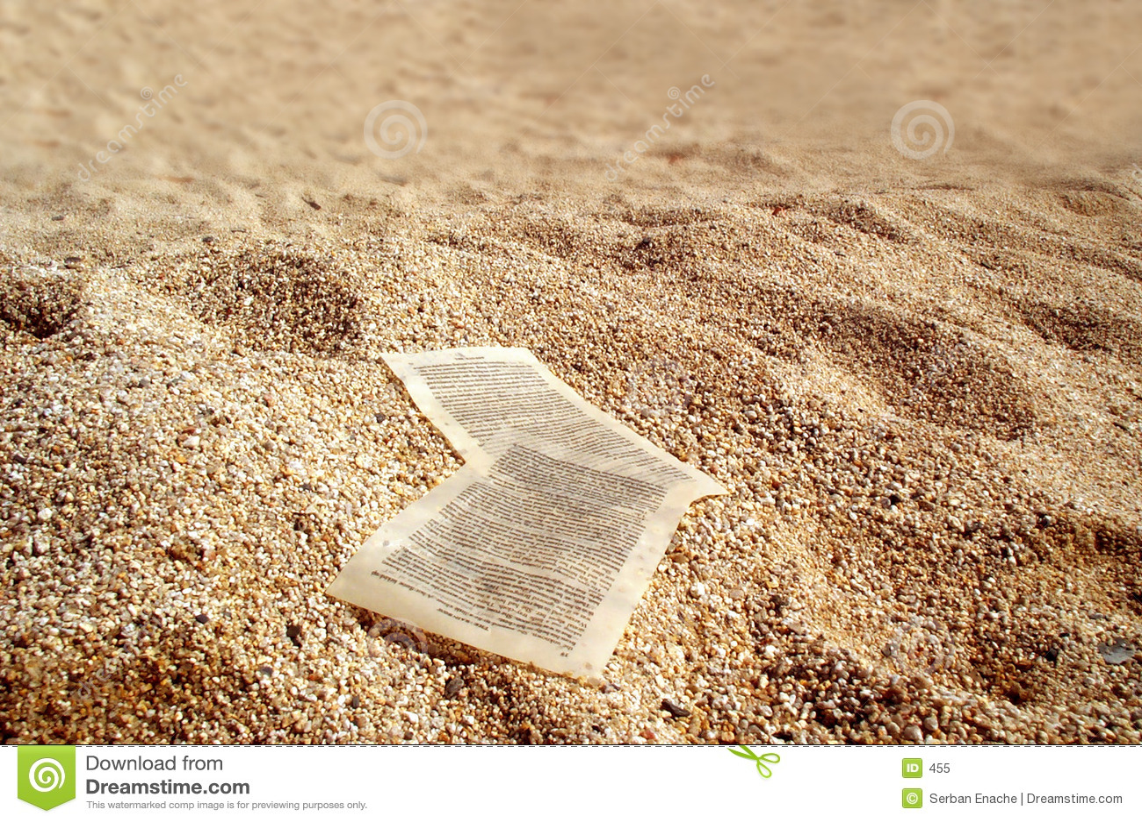 Paper sheets on golden sands