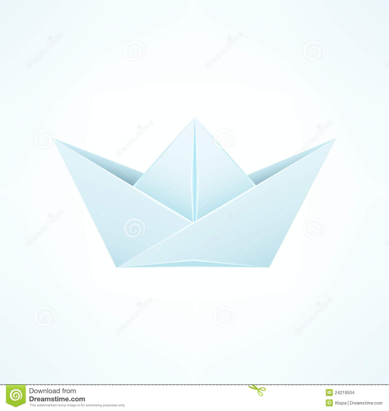 Paper Ship Origami Isolated on White Blue Background. Illustration.