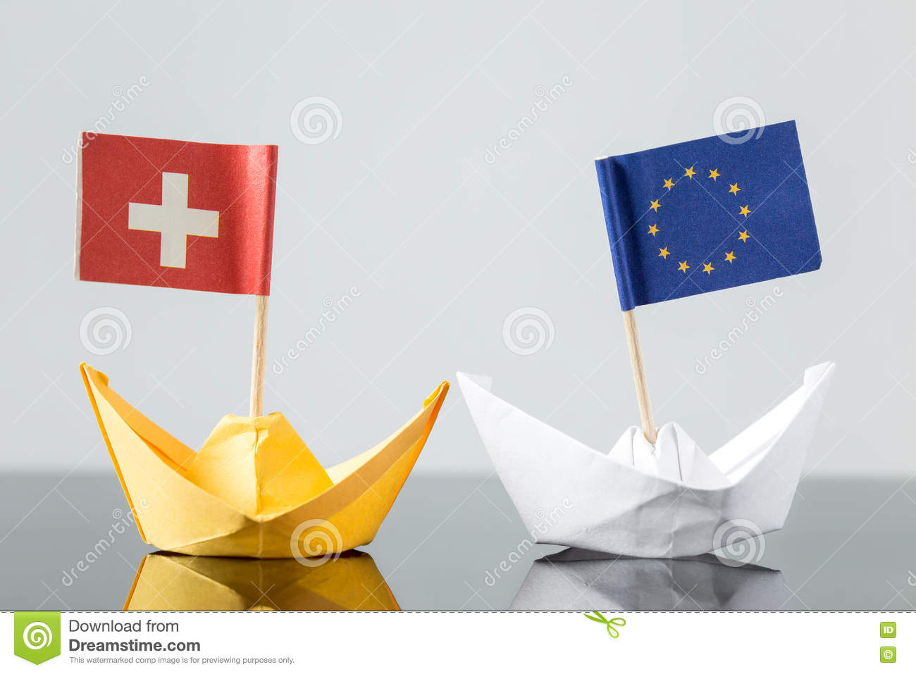 Paper Ship With Swiss And European Flag Stock Photo Image Of Nato