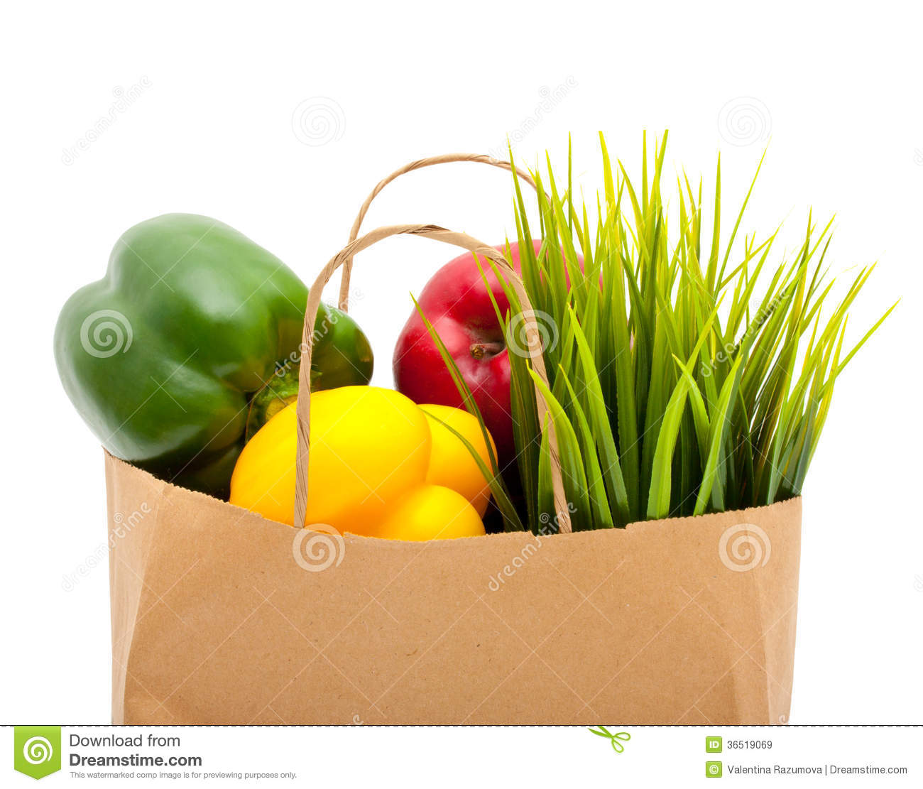 Paper Shopping Bag With Green Grass,fruit And Royalty Free Stock ...