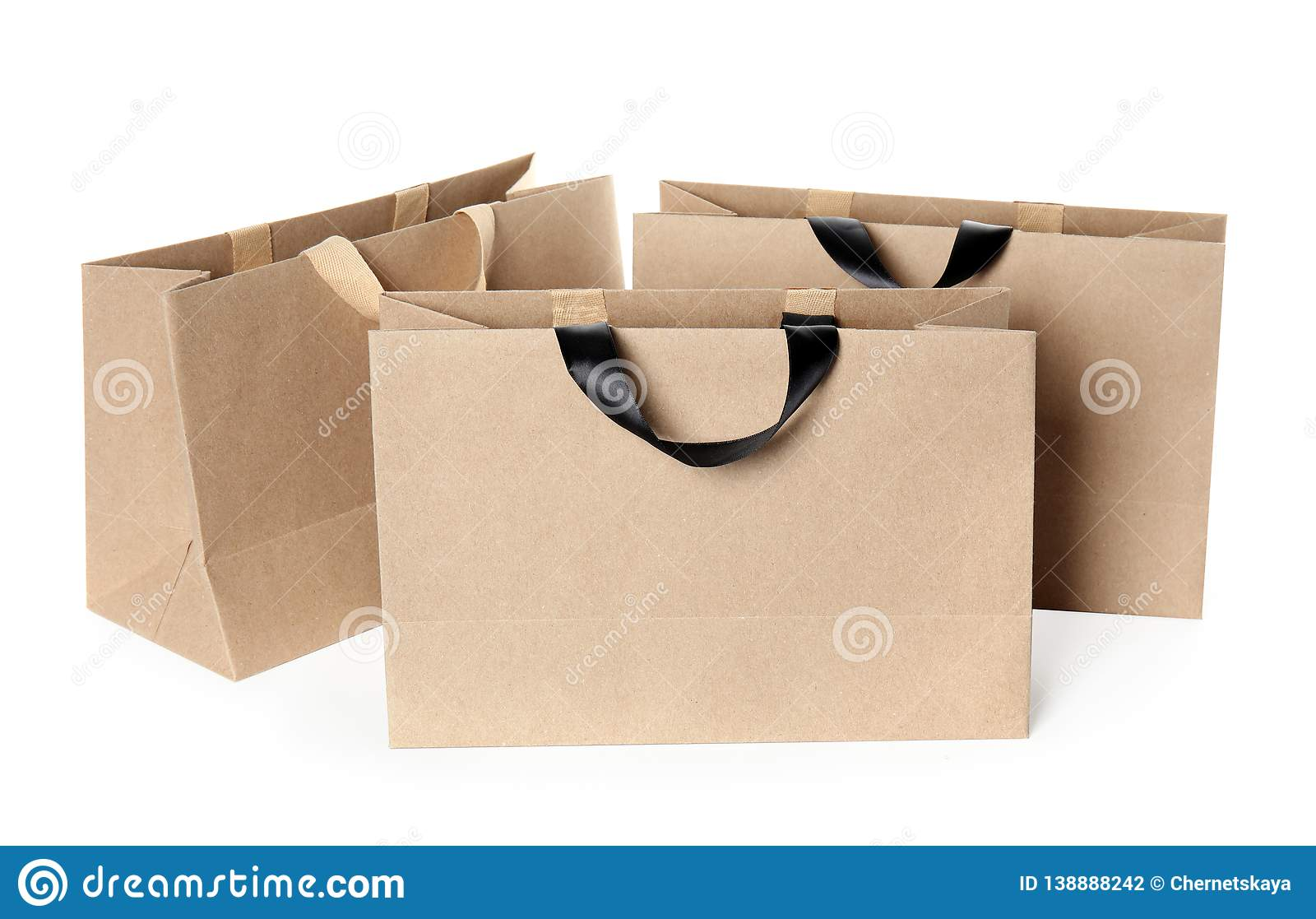 Paper Shopping Bags On White Mock Up For Design Stock Photo Image Of Carry Brown 138888242