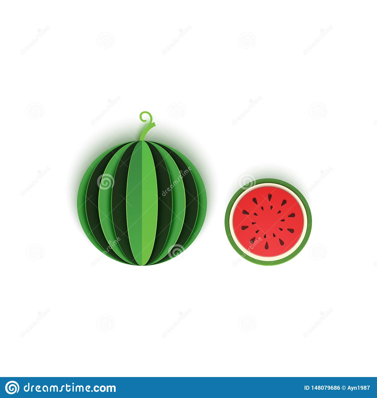 The paper is sliced with whole and cut watermelon berry, an excellent design for any purpose. Summer, sweet green melon