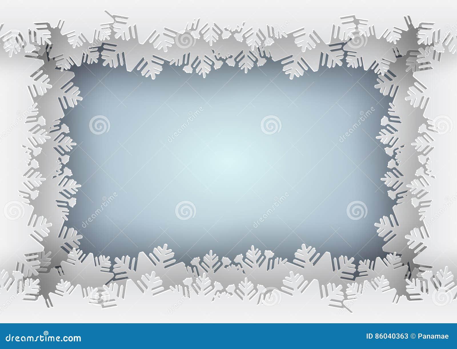 Paper snowflake blue border on blue background