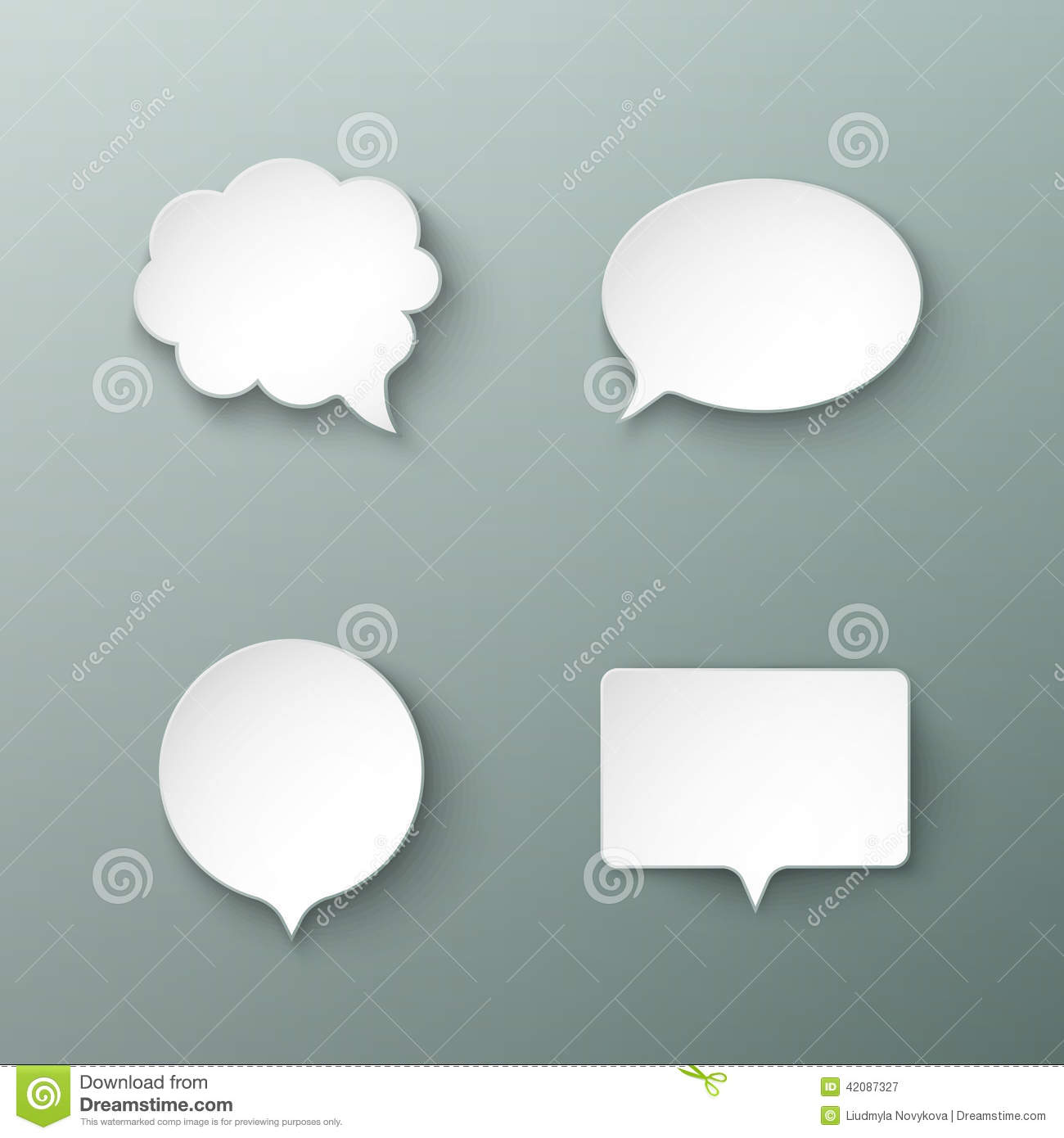 paper speech bubbles different shapes with the shadows. Black Bedroom Furniture Sets. Home Design Ideas