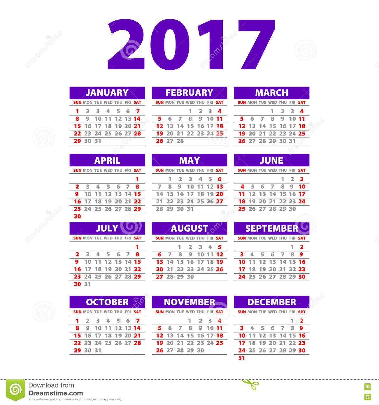 Paper Style 2017 Full Calendar Template - Promotion Poster Vector ...