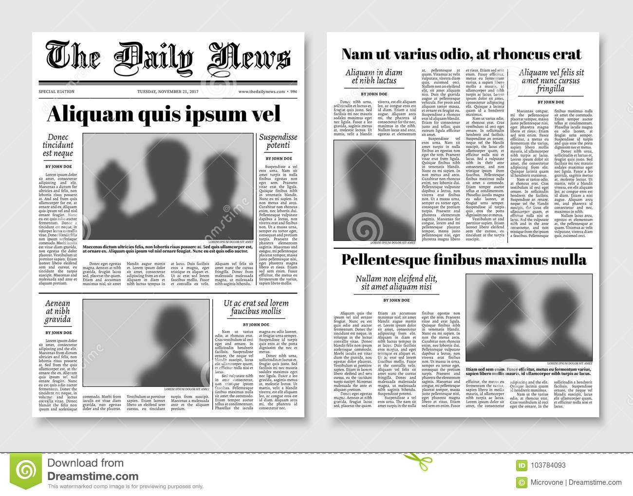 Paper Tabloid Newspaper Vector Layout Editorial News Template Stock