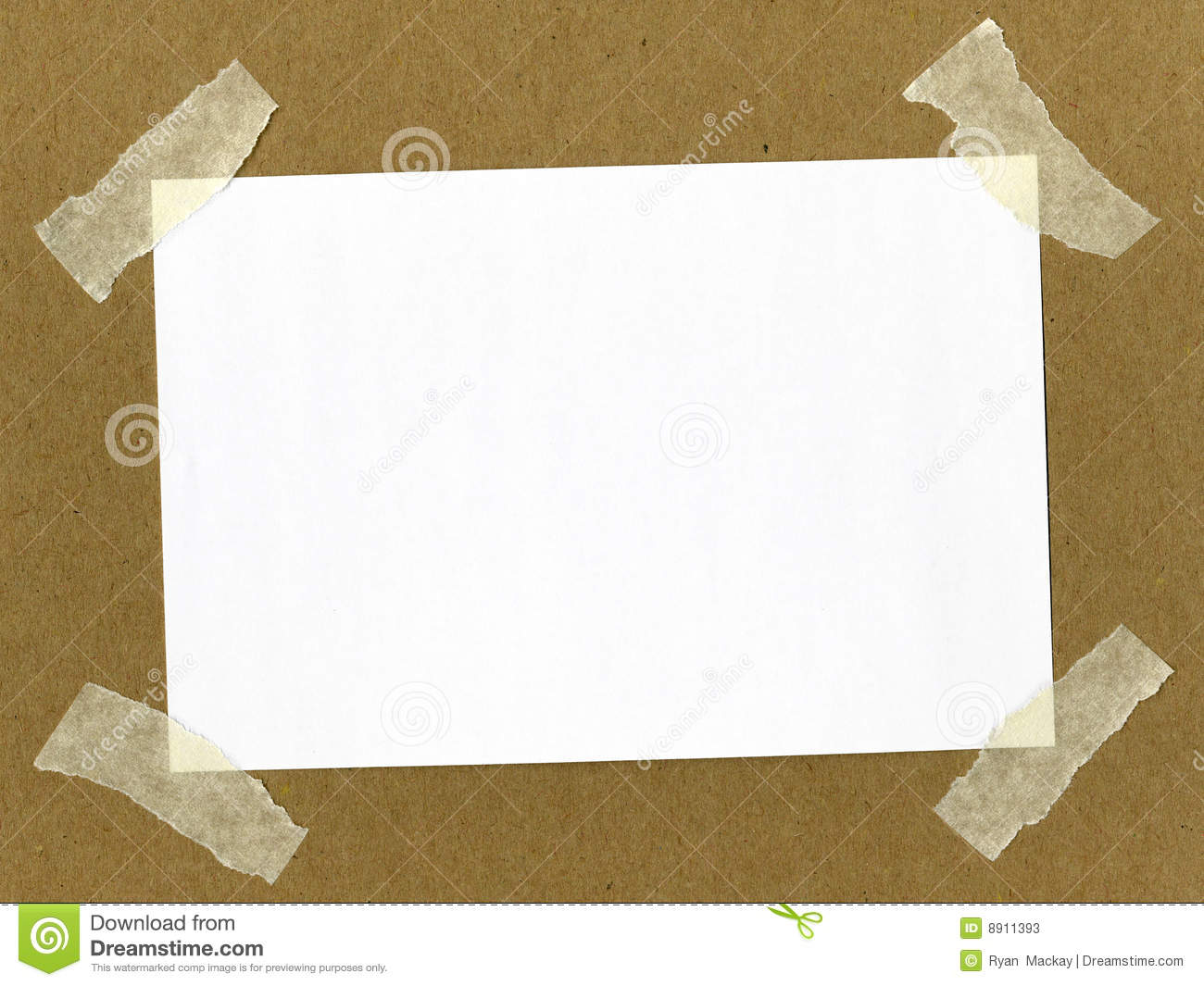 Paper Taped On Cardboard Stock Image Image Of Material
