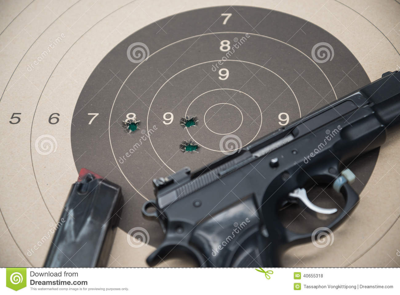 Paper target gun stock photo  Image of ammo, competition
