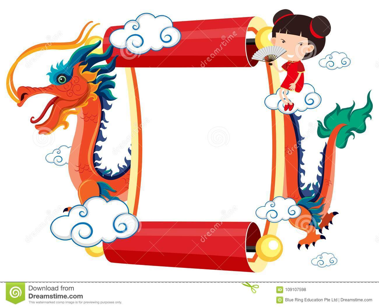 paper template with chinese dragon and girl stock vector