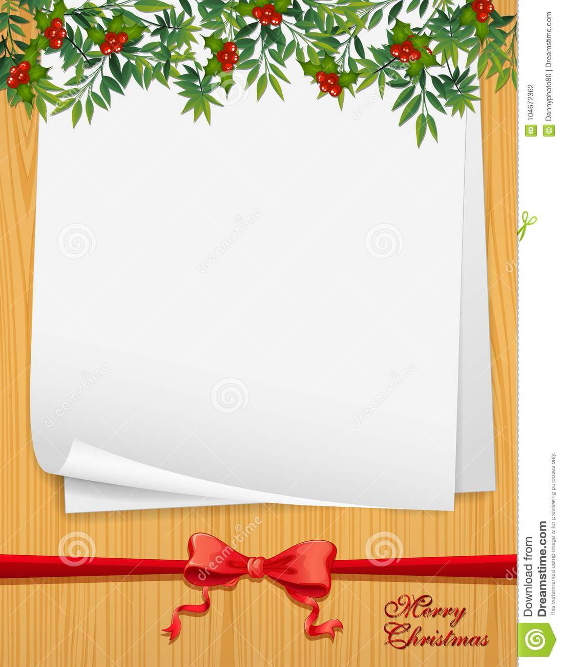 paper template with christmas theme stock vector