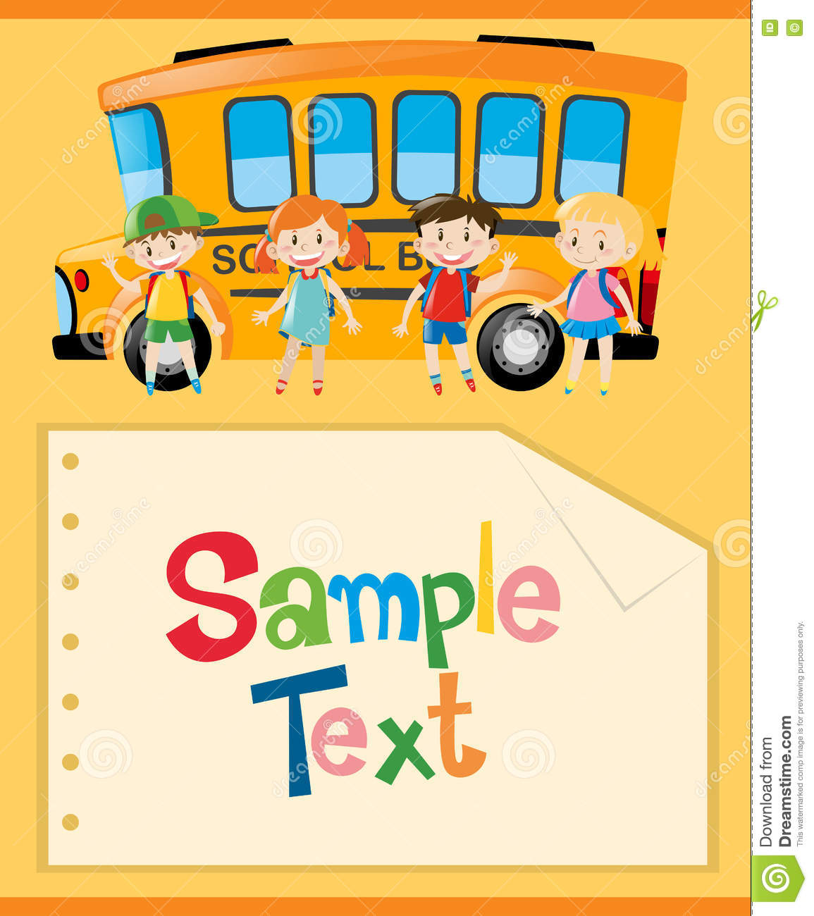 Paper Template With Kids And School Bus Stock Illustration
