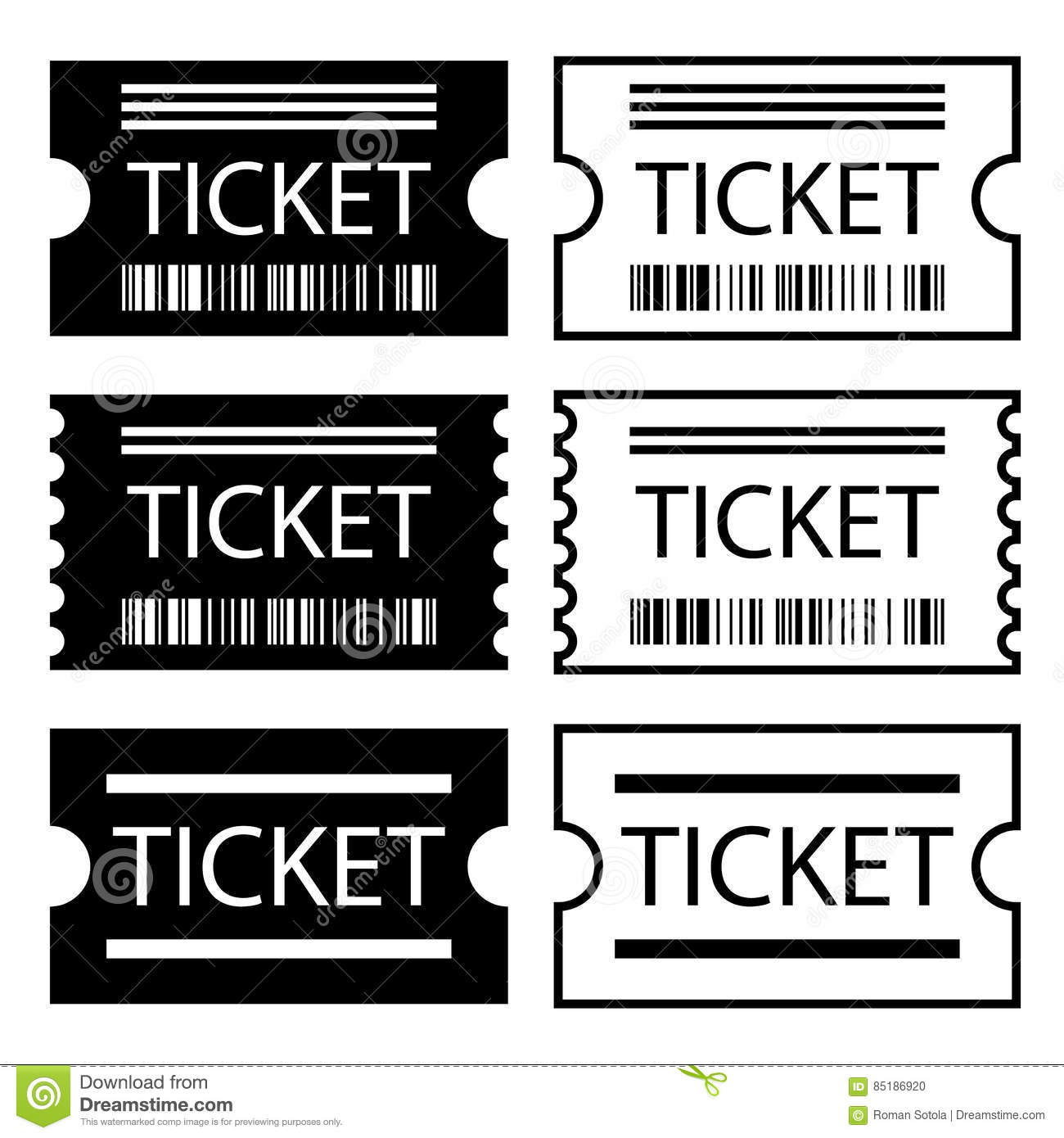 Paper Ticket Symbol Black White Stock Vector - Illustration of ...