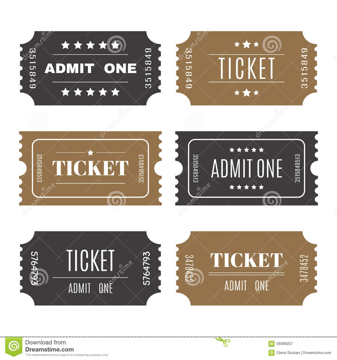 Paper tickets with numbers set of vector templates entry for Entry tickets template