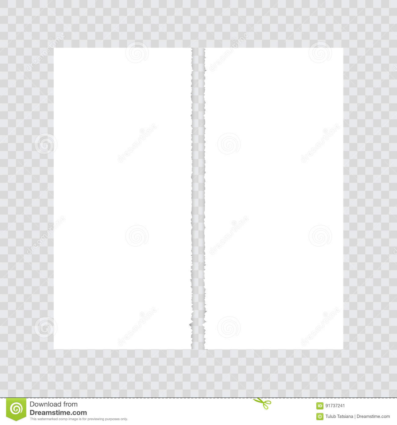 paper torn in half on a transparent background. stock vector