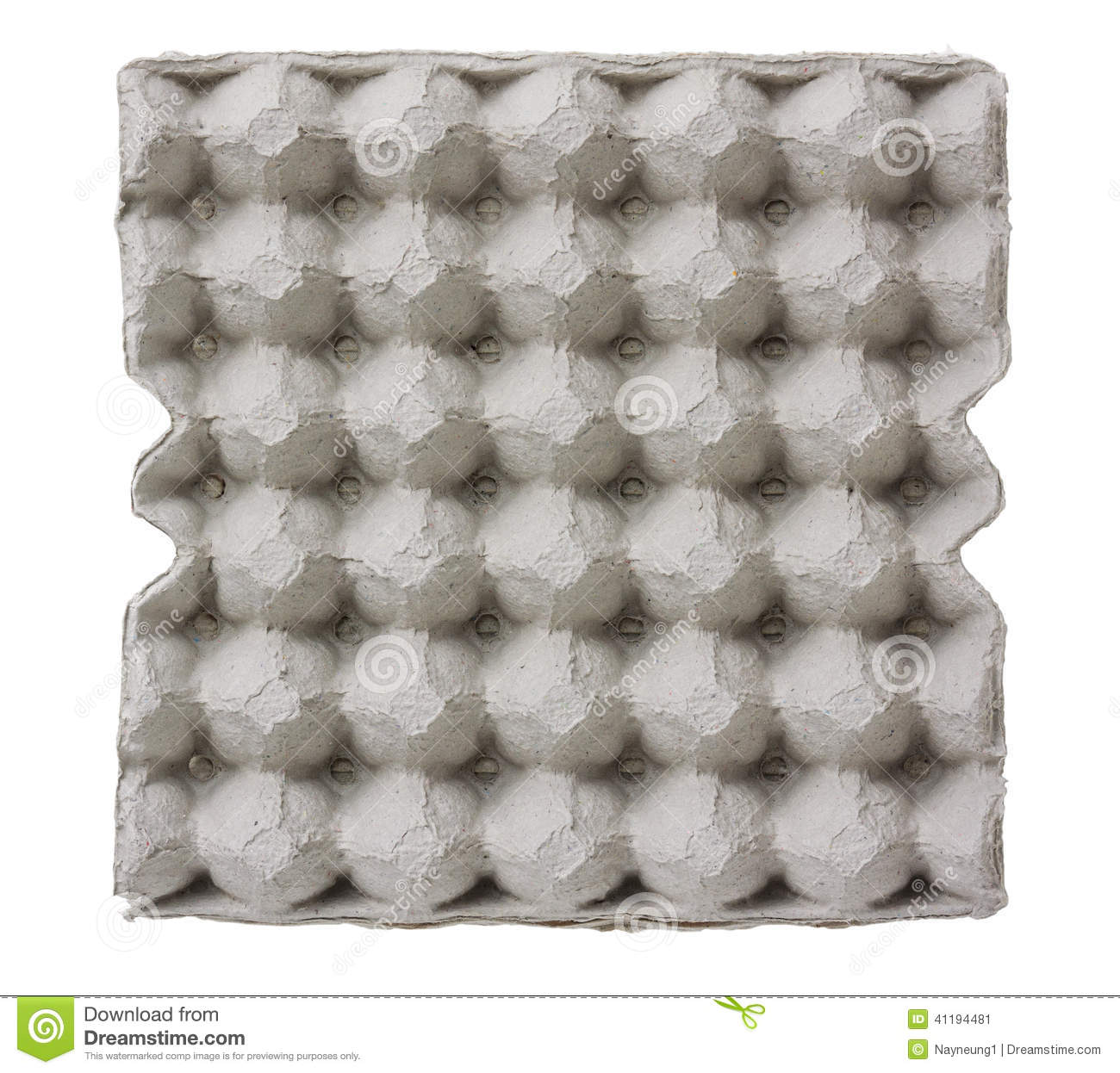 Paper tray for egg isolated on white .
