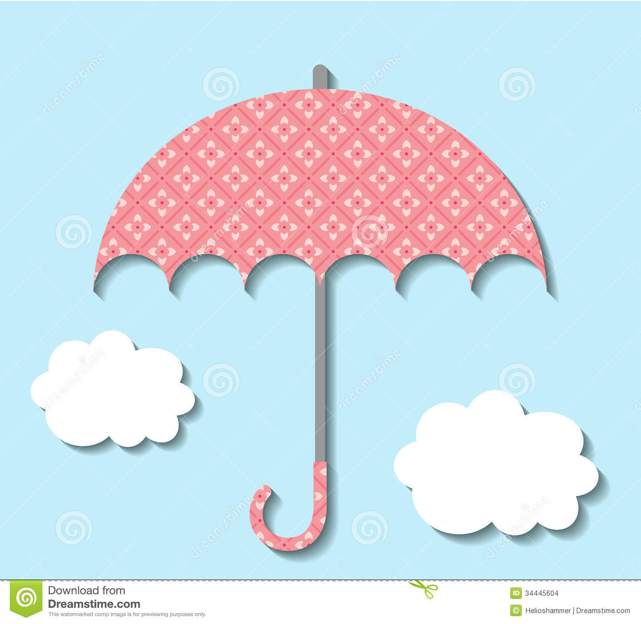 Paper umbrella with clouds stock vector image of for How to make a paper cloud