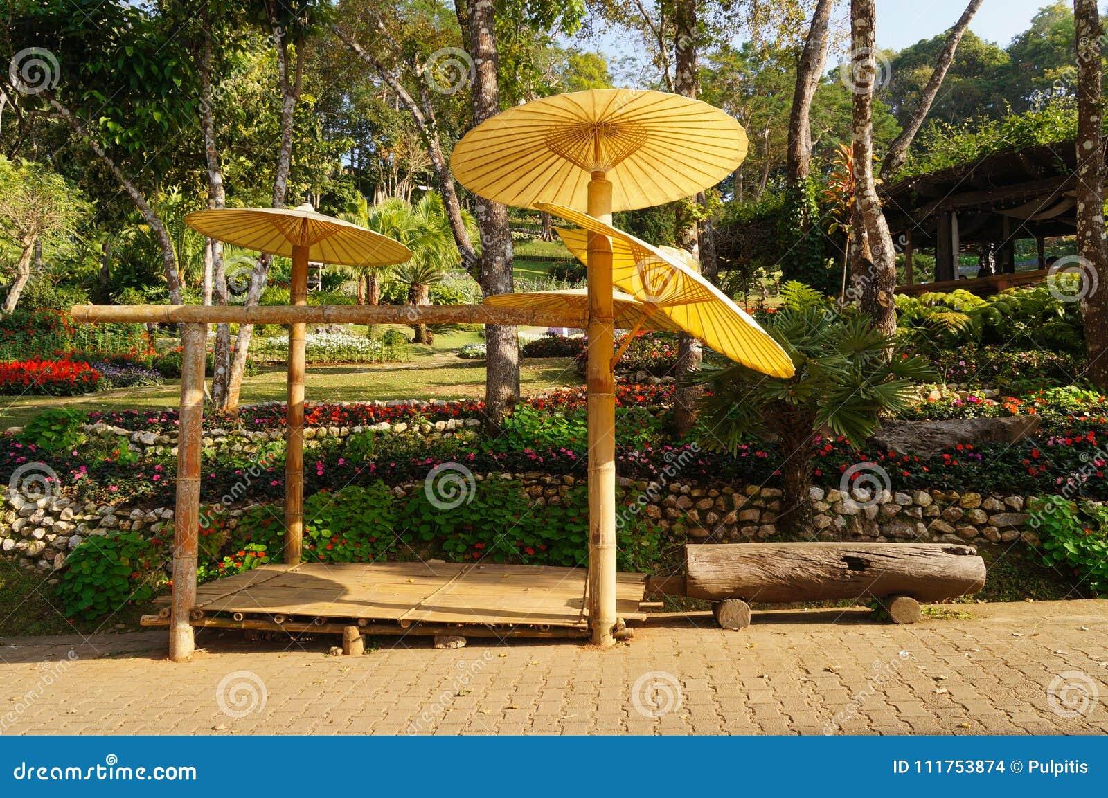 Paper Umbrellas In The Garden, Thailand. Stock Photo - Image of ...
