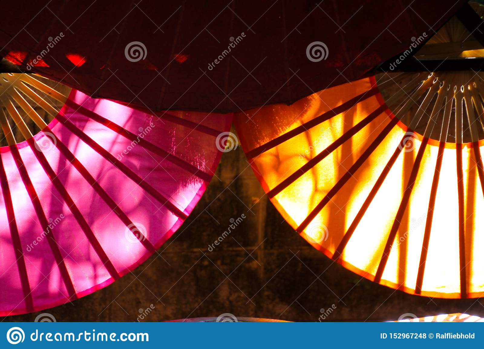 Paper umbrellas illuminated by sun from the back in Chiang Mai, Thailand