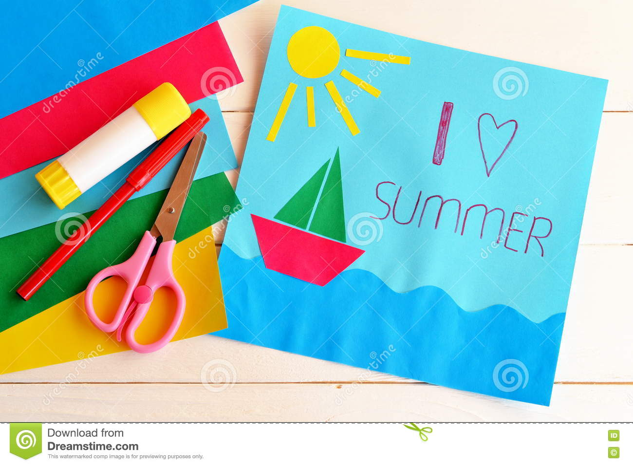 Paper vacation card summer camp idea for kids stock photo royalty free stock photo kristyandbryce Image collections