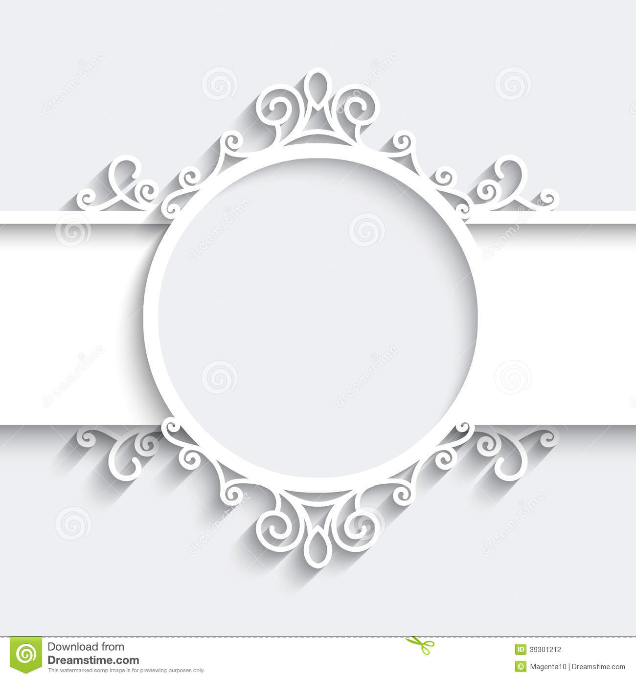 Paper frame with shadow, ornamental vignette on white background